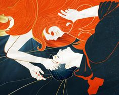 """illustration for book """"Polina, follow the light""""  """"Всю ночь они не отпускали друг друга, срастаясь душами и кончиками пальцев, сплетаясь ногами и глазами."""""""