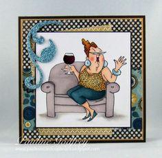 Art Impressions: Ai People: Celeste Set (Sku#4326) Handmade wine themed card.
