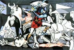 The Guernica intruder (detail) // Equipo Cronica (three spanish… Pop Art, Cultura Pop, Bilbao, Picasso Guernica, Pablo Picasso, Art Espagnole, Pop Internacional, Modern Art, Contemporary Art