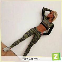 New GYM Fitness Tight Women Tracksuit Camouflage Stitching Sweatshirt Sets Yoga Sets Sport Wear Suit Workout Clothing Yoga Leggings, Tops For Leggings, Leggings Are Not Pants, Workout Leggings, Leggings Store, Green Leggings, Printed Leggings, Cheap Leggings, Camo Leggings