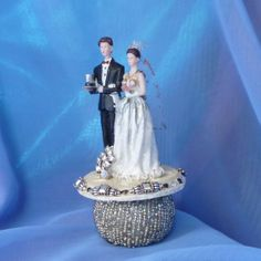 Steampunk Bride and Groom Wedding Cake Topper by gothB4play, $17.77