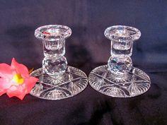Crystal Candle Holders Lead Crystal  1 Pair by VintageLoversShop