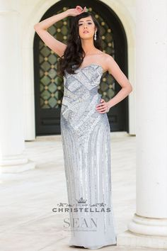 Shine bright in this silver gown fully covered in sparkly sequins in an Art Deco-inspired design. Sean Collection 50683 Dress / $398 - Shop the look at: www.christellas.com #prom #dresses #Faviana