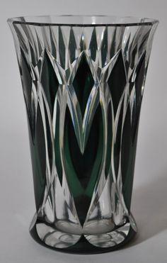 Val Saint Lambert green crystal vase