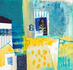 blue and yellow abstracted mixed media buildings and sea Soul Collage, Collage Art, Collage Ideas, Abstract Landscape, Abstract Art, Coastal Art, Mark Making, Limited Edition Prints, Mixed Media Art