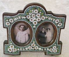 Victorian Micro Mosaic Double Picture Frame Daisy Design on Wood