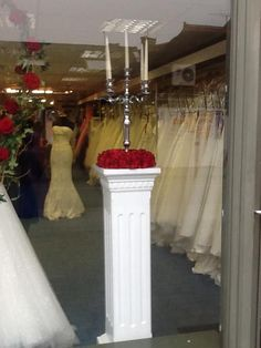 Couture & Tiaras bridal shop, Sussex. Flower arrangement by Erica Lilly