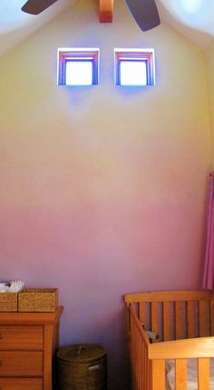 A gorgeous idea {ombre painted walls} though in the wrong colour for moi!  I'd love to try this with blues/purples!