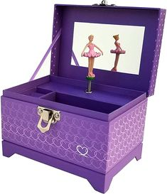 Amazon.com: My Tiny Treasures Box Company Ballerina Music Box (Heart Ballerina Music Box - Purple): Home & Kitchen Kids Jewelry Box, Music Jewelry, Old Jewelry, Music Box Ballerina, Ballerina Jewelry Box, Ballerina Ornaments, Wood Butterfly, Box Company, Tiny Treasures