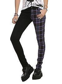 HOTTOPIC.COM - Royal Bones By Tripp Split Leg Black And Purple Plaid Skinny Pants