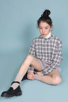 white turtleneck + grey plaid sweater + nude shorts + nude socks + black thick sole loafers