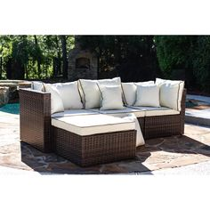Three Posts Burruss Patio Sectional with Cushions & Reviews   Wayfair