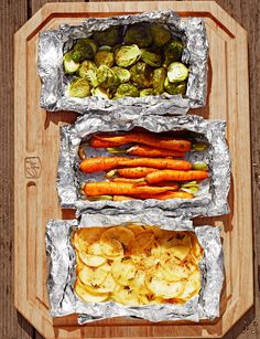 How to Grill Packets - Potatoes With Parmesan, Garlic, and Rosemary, Carrots With Cumin, Ginger and Honey, Brussels Sprouts With Thyme and Garlic.