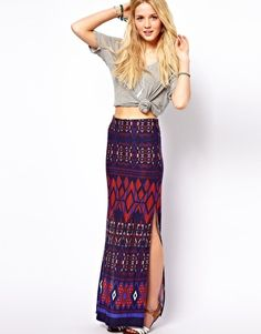 ASOS Maxi Skirt in Aztec Print. $60 is way too expensive for a maxi skirt, BUT I LOVE IT SO MUCH XOXOXOX I WANT TO MARRY IT.