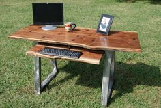 Walnut Live Edge Desk Set with Steel Legs and Chair