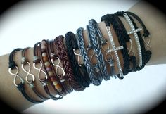 Infinity leather wrap bracelets made by Dizzy Bees! Find Dizzy Bees on Facebook to order!