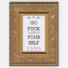 For Damore, cuz it already is.  F*ck Yourself Cross-Stitch Kit, $20, now featured on Fab.