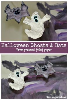 Halloween Ghosts & Bats from pressed toilet paper! A simple toilet paper craft for preschoolers to make this Halloween