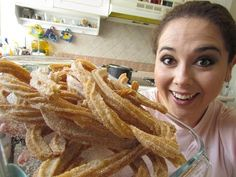 will be making these VERY soon! Mexican Sweet Breads, Mexican Snacks, Mexican Dishes, Spanish Churros Recipe, Homemade Churros Recipe, Chilean Recipes, Mexican Food Recipes, Mexican Cooking, Home Made Churros