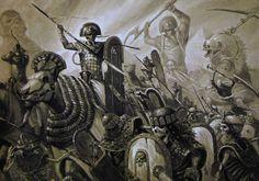 Nehekhara vs undead, par (auteur inconnu), in Warhammer Battle, par Games Workshop Fantasy Battle, Fantasy Races, Dark Fantasy, Fantasy Art, Warhammer Tomb Kings, Warhammer 40k Art, Warhammer Fantasy Roleplay, Walking Dead, Necromancer