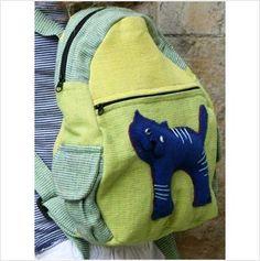 Childrens kids rucksack bag cat 26x25cm childs girls Shared Earth fair trade