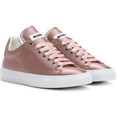 Jil Sander Satin Sneakers ($435) ❤ liked on Polyvore featuring shoes, sneakers, pink, pink shoes, pink sneakers, jil sander, satin shoes and jil sander sneakers