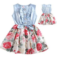 Kids Girls Denim Tutu Casual Floral Dresses Summer Pageant Dresses Size 3-4 Year in Clothes, Shoes & Accessories, Kids' Clothes, Shoes & Accs., Girls' Clothing (2-16 Years) | eBay