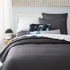 Channel Stitch Coverlet, Twin, Slate