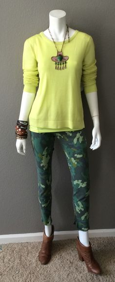 Daily Look: CAbi Spring '15 Split Back Pullover & Simple Cami in the same shade with last spring's Clover Camo Jegging, booties, tons of bracelets, and a bomb necklace my daughter left behind on her last visit. #springfashion #cabiclothing