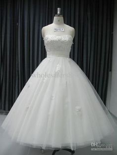 Wholesale Custom Made A-line Strapless Wedding Dresses Tea-Length Organza Wedding Dress Gowns H38, Free shipping, $91.95-119.84/Piece | DHgate