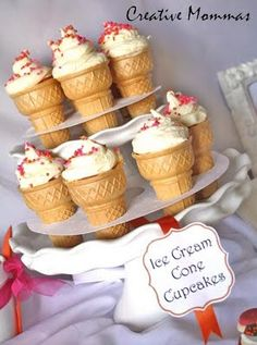 Ice Cream Cone Cupcake Stands, can also  make cupcakes, set inside the cone for the kids at the wedding!