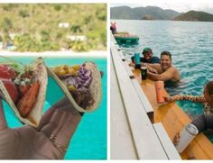Itching for a Caribbean getaway? Check out this floating taco and cocktail bar in the Virgin Islands that allows you to swim up for your order. Thing 1, Cocktails, Drinks, Tacos, Baking, Cool Stuff, Stuffed Peppers, Dresser Drawers, Tiger Cake