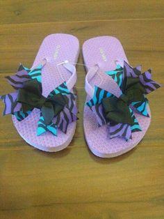 69072c4c2d5c8 Items similar to Blue   Purple Zebra Bow Flip Flops on Etsy