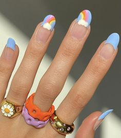 Cute Spring Nails, Spring Nail Art, Summer Nails, Long Nail Art, Short Nails Art, Hair And Nails, My Nails, Rainbow Nail Art, Nails Today
