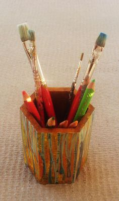 """Pencil holder made of wood - Totally hand painted """"Beech Forest"""" by allabouthandicraft on Etsy"""
