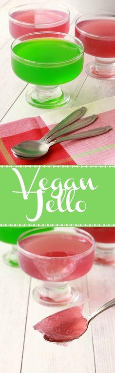 Vegan Jello in fun and fruity red and green. #vegan #lovingitvegan #glutenfree #jello #veganjello #dessert
