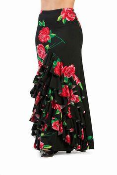 Flamenco Skirt Model Fananguillo ref. African Print Dresses, African Dress, Flamenco Skirt, Gypsy Women, Sari Blouse Designs, Black Denim Skirt, Fashion Outfits, Womens Fashion, I Dress