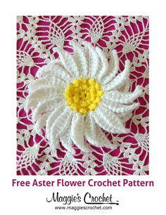 Aster Flower Free Crochet Pattern from Maggie's Crochet Blog.