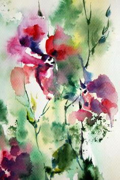 Abstract Nature Original Watercolor Painting, Pink Floral Green Nature