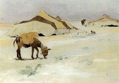 L'âne au campement von Edouard Edmond Doigneau
