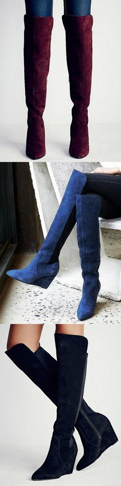 Unique Every girl needs a pair of suede boots for everyday wear. We've got the perfect shoes for the winter - meet the winter. Tall Boots, Knee High Boots, Over The Knee Boots, High Heels, Crazy Shoes, Me Too Shoes, Bootie Boots, Shoe Boots, Women's Shoes