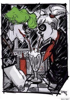 Rockabilly Harley Quinn and The Joker by Denis Medri