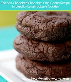 The Very Best Chocolate Chocolate Chip Cookie Recipe Inspired By Levain Bakery. Great big rich fudgey cookies! at @Christi | Love From The Oven