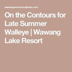 On the Contours for Late Summer Walleye | Wawang Lake Resort