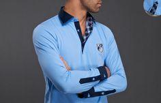 #Blue Polo #Shirt Shield Checkered Lining, - #frenchflair $89.90
