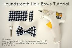 Feathers in Our Nest: Houndstooth Felt Hair Bow Tutorial Felt Hair Bows, Pet Stockings, Small Hair Clips, Rosette Headband, Hair Bow Tutorial, My Little Girl, Diy Projects To Try, Pet Accessories, Houndstooth