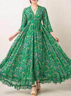Sexy Floral Print Waist Maxi Dress - My Sweet Dress Long Gown Dress, Sexy Maxi Dress, Saree Dress, Chiffon Dress, Sexy Dresses, White Chiffon, Formal Maxi Dresses, Chiffon Saree, Chiffon Shirt