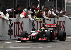 Chinese GP - Lewis Hamilton passes his celebrating pit crew as he crosses the line in third Chinese Grand Prix, Lewis Hamilton, Ubs, Espn, Sports News, Formula 1, Football, Vehicles, Crosses