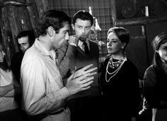 Director Roger Vadim, Gerard Philippe and Jeanne Moreau on the set of Les liaisons dangereuses, 1959