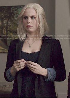 Liv's black textured blazer on iZombie.  Outfit Details: http://wornontv.net/49344/ #iZombie
